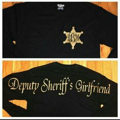 Deputy sheriffs girlfriend/wife by StudioChaseDesigns on Etsy. I like the monogram inside the sheriffs star or on a police badge. Correctional Officer Wife, Police Officer Wife, Dating A Cop, Sheriff Deputy Wife, Police Girlfriend, Police Love, Leo Wife, Thin Blue Lines, Long Sleeve Shirts
