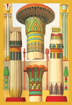 Egyptian Columns 12x18 Giclee on canvas