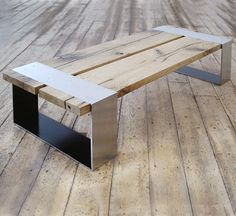 PachaDesign - Love this for the inside or outside of my house. stainless steel & oak coffee table