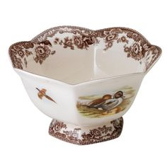 Found it at Wayfair - Woodland Lapwing and Quail Hexagonal Footed Serving Bowl