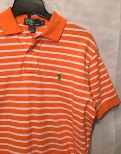 Mens Ralph Lauren Polo Short Sleeve Shirt Orange White Stripped Medium Pony    eBay ebd3d325d66
