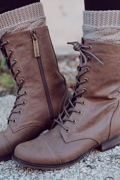 Lace Up Taupe Combat Boot