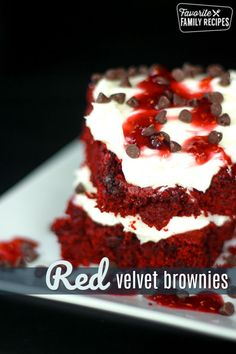 Red Velvet Brownies with mini chocolate chips are topped with a rich cream cheese frosting and then are drizzled with a delicious vanilla raspberry sauce. #redvelvet #redvelvetrecipe #redvelvetbrownies #brownies #dessert #redvelvetdessert #creamcheesefrosting #FavoriteFamilyRecipes #favfamilyrecipes #FavoriteRecipes #FamilyRecipes #recipes #recipe #food #cooking #HomeMade #RecipeIdeas via @favfamilyrecipz