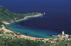 Italy, Tuscany, Maremma,Giglio Island.  Campese Beach, on the west side. A wonderful sandy beach in a protected bay, beach services, restaurant and accommodation. #maremma, #tuscany, #italy