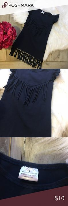{•Boho Gypsy Fringe Toddler Dress•} Like new in EUC! Reposh- ft too small for my daughter. Labeled as a L, but fits like a 2T. (Measurements to be added later) Navy in color. Fringe on the dress. Cap sleeves. From a clean and smoke free home.  {Posh Ambassador  {300+ Sales Dresses