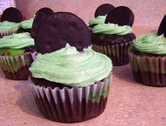 Chocolate mint cupcakes for St. Patricks Day. Yum.