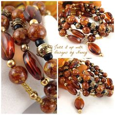Riverstone with Gold and Black Autumn Stack by JazzitUpwithDesigns, $35.00
