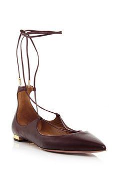 Burgundy Nappa Leather Christy Lace Up Flats by Aquazzura Now Available on Moda Operandi