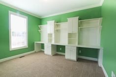 Custom builtins in homeschool room.  Paint color: SW 6732 Organic Green
