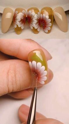Nail Art Designs Videos, Fall Nail Art Designs, Nail Art Videos, Toe Nail Designs, Beautiful Nail Designs, Toe Nail Art, Nail Art Diy, Uñas One Stroke, Disney Acrylic Nails