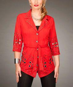Look what I found on #zulily! Red Studded Tie-Waist Jacket by Firmiana #zulilyfinds