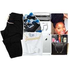 A fashion look from December 2014 featuring cropped sweat pants, gold plated jewelry and earphones earbuds. Browse and shop related looks. Lazy Day Outfits, Chill Outfits, Dope Outfits, Teen Swag, Girl Swag, My Outfit, Outfit Of The Day, Laid Back Style, My Style