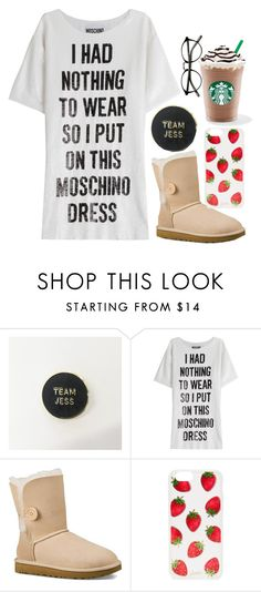 """Quick Morning Starbucks With Moschino"" by emily-2024099 ❤ liked on Polyvore featuring Moschino, UGG Australia, Sonix, jess, gilmoregirls, teamjess, milo and jessandroryarejustmeanttobe"