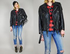 Fringe LEATHER MOTORCYCLE jacket biker coat HEART concho Genuine zipper buckle punk 80's small / med on Etsy, $235.00