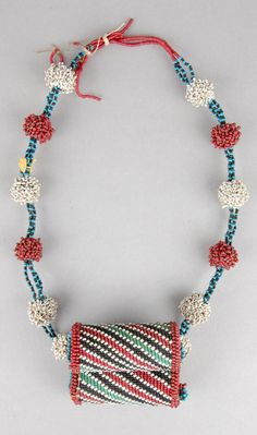 South Africa | Necklace; with 2 'boxes' made of glass beads, bamboo, sinew and gourd | ca. 1969 or earlier