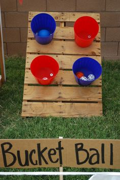 Turn your backyard into a county fair with this fun bucket game. See more party ideas at CatchMyParty.com.