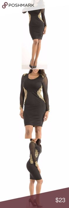 Sexy Gold Black Dress with long sleeves Sleeves are sheer rest of the dress is a thick fabric with no show through.Model is wearing a small & the exact same style. Close up shows fabric quality-Color dif is lighting. Brand new with tag!  Small=size 2,3,4  Medium= size 5,6,7  Large= size 8,9,10  Fabric designed w/stretch-Fit similar to styles @ Hello Molly, ASOS, Showpo ,Hot Miami Styles, Sabo Skirt , NBD, Lulus ,Tobi, Touch Dolls, Fashion Nova, Forever 21, Nasty Gal ******  Visit my closet…