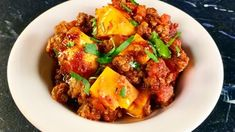 """Sweet Potato Chili Casserole (Cold Weather Comforts) - Michael Symon, """"The Chew"""" on ABC. The Chew Recipes, Beef Recipes, Dinner Recipes, Cooking Recipes, Healthy Recipes, Cooking Chili, Cooking Steak, What's Cooking, Cooking Classes"""