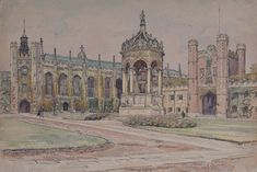 For Sale on - Great Court, Trinity College Cambridge Watercolour painting art J V C Anthony, Watercolor by J V C Anthony. Offered by Manning Fine Art. Landscape Drawings, Landscape Paintings, Watercolour Painting, Painting Art, Sepia Color, Holland Park, Impressionist Landscape, John Singer Sargent, American Modern