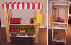 Tienda de juguete hecha con una estantería de ikea