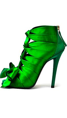 Roger Vivier ~ green ribbon satin heels, what a shoe master!                                                                                                                                                                                 More