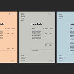 Brand identity for Kate Ballis by Mike Giesser - - Text Layout, Invoice Layout, Invoice Design, Graphic Design Resume, Stationary Design, Identity Design, Typography Design, Brand Identity, Image Layout