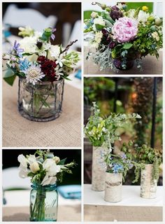 more flower ideas... I love this picked from the meadow/garden feel.