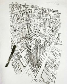 Awesome #cityscape #perspective #drawing by @_ariel0806. The detail on the…