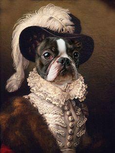 Custom renaissance canvas portraits from your photo. Royal People and Pet Portraits for canvas Print. Portrait Renaissance, Renaissance Paintings, Boston Terrier Kunst, Royal Animals, L'art Du Portrait, Pet Costumes, Halloween Costumes, Dog Portraits, Dog Art