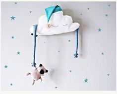Kids Pillow Cloud Stuffed Cloud shaped pillow nightcap teddy bear Baby Toddler Mobile - white, beige, blue nursery room decor 18'' (47cm)