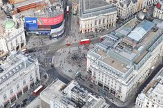 An aerial photograph of Piccadilly Circus in Central London's West End district
