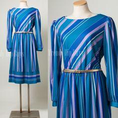 Vintage 70s Dress Teal Blue Purple Stripe Aline dress by TrendyHipBuysVintage, $39.00