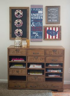 Patriotic gallery wall made with all handmade art