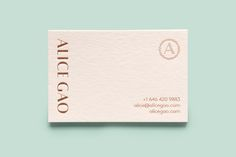 Business card for New York-based travel and still life photographer Alice Gao by Tung.