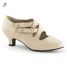 Womens Matte Cream 2 Inch Chunky Kitten Heel Shoes with Unique Strap Detail Size: 6 - Summitfashions pumps for women (*Amazon Partner-Link)