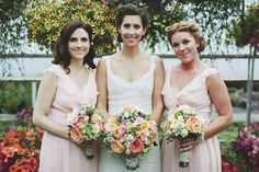 pink bridesmaid dresses and peach bouquets, photo by Rowan Jane Photography