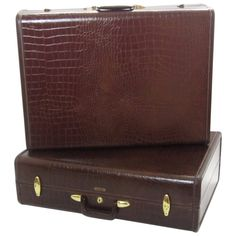 Pair of Crocodile-Embossed Leather Suitcases | From a unique collection of antique and modern trunks and luggage at https://www.1stdibs.com/furniture/more-furniture-collectibles/trunks-luggage/