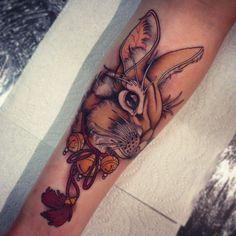 Tom Bartley tattoo inspiration #geishatattoos #geisha #tattoos #colour Bunny Tattoos, Rabbit Tattoos, Animal Tattoos, Hase Tattoos, Natur Tattoos, Tattoo Set, Arm Tattoo, Body Art Tattoos, Delicate Tattoo