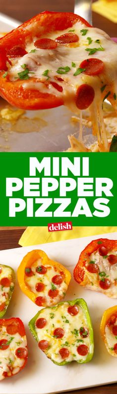 4 bell pepper halves 1T olive oil kosher salt black pepper 1/2 c. pizza sauce 2 c. shredded mozzarella 1/2 c. finely grated Parmesan 1/3 c. mini pepperoni 1 tbsp. chopped parsley - Preheat oven to 350°. On a sheet tray, drizzle peppers with olive oil and season witih salt and pepper. Spoon sauce onto each pepper half. Sprinkle with cheeses and top with pepperoni. Bake for 10-15 minutes, until the peppers are crisp-tender and cheese is melted. Garnish with parsley