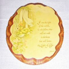 """Wood Decoupaged Wall Plaque, Vintage Art Decoration, Wall Hanging """"John 8:12"""" Home Decor by SheCollectsICreate on Etsy"""