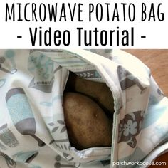 Baked Potato Microwave Bag with Video Tutorial - Patchwork Posse Easy Sewing Projects, Sewing Hacks, Sewing Tutorials, Sewing Ideas, Sewing Crafts, Sewing Patterns, Diy Projects, Diy Crafts, Baked Potato Microwave