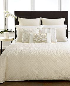 Hotel Collection Bedding, Stitched Diamond Collection - Bedding Collections - Bed & Bath - Macy's  Nice with coloured pillows