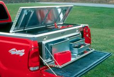 Tool storage ideas tool storage system rolls on rails from t Truck Bed Storage Box, Truck Bed Tool Boxes, Truck Tools, Car Storage, Tool Storage, Storage Ideas, Storage Systems, Storage Organization, Storage Solutions