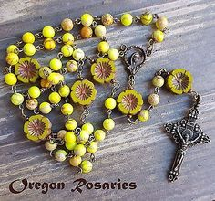 Yellow Variscite and Czech Glass Flower Gemstone Rosary, Five Decade   #OR1346