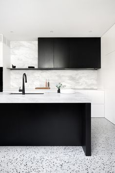 INSPIRATION: bring calm and cool factor to this Prahran home, blending soft Elba stone bench tops and punchy terrazzo with black stained oak cabinetry. Grey Kitchen Designs, Modern Kitchen Design, Interior Design Kitchen, Design Bathroom, Terrazzo, Home Design, Design Design, Design Trends, Scandinavian Style
