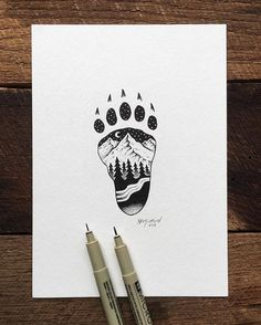 A different paw print for me but same basic principle. pen and ink illustration by artist sam larson. Drawing Sketches, Cool Drawings, Drawing Ideas, Sketch Ideas, Tattoo Drawings, Pencil Drawings, Ink Illustrations, Illustration Art, Stylo Art