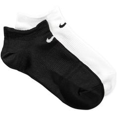Nike Womens Dri-fit Half-Cushion No-Show Socks 2-Pack ($12) ❤ liked on Polyvore featuring intimates, hosiery, socks, accessories, nike, black and white socks, wicking socks, moisture wicking socks and nike socks