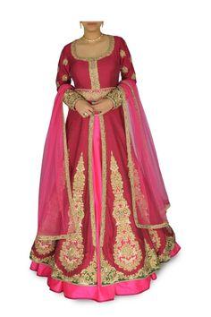 Wine & Rani Pink Embellished Lehenga