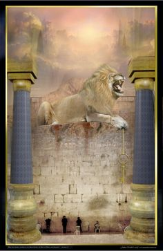 Weep Not The Lion of Judah atop the Wailing Wall holding key of David, His blood stain on the wall, roaring of the nations as men cry for Messiah to come, we are drawing ever closer to the day when every eye will see Him, King of Kings and Lord of Lords. Tribe Of Judah, Art Prophétique, Lion And Lamb, Crying Man, Prophetic Art, Biblical Art, Lion Of Judah, Atlantis, Jesus Cristo