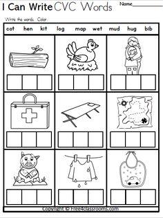 Free Kindergarten CVC Writing Worksheet - Free4Classrooms